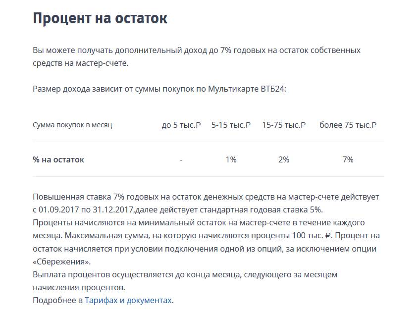Проценты на остаток по Мультикарте ВТБ24